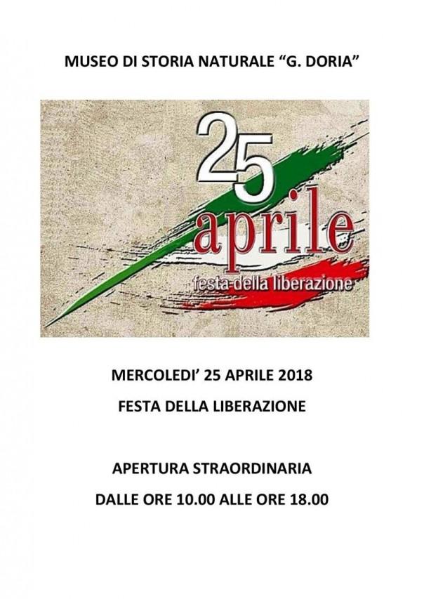25 APRILE 2018 - APERTURA STRAORDINARIA