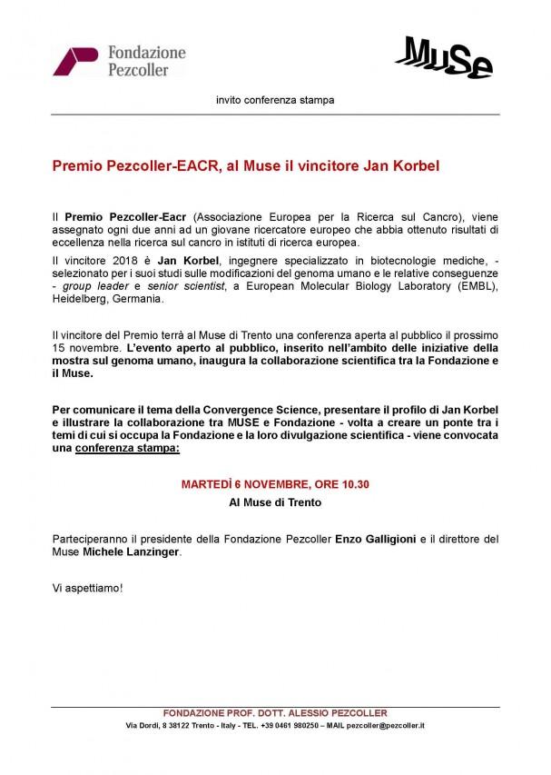 Premio Pezcoller-EACR, al Muse il vincitore Jan Korbel