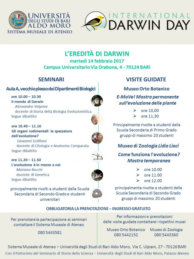 Darwin Day 2017 a Bari