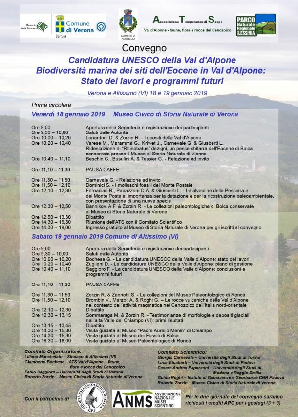 Candidatura UNESCO della Val d'Alpone. Biodiversità marina dei siti dell'Eocene in Val d'Alpone: stato dei lavori e programma futuri