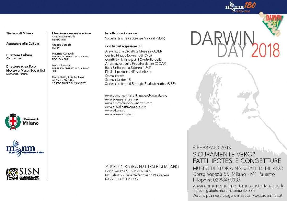 DARWIN DAY 2018 - SICURAMENTE VERO? FATTI, IPOTESI E CONGETTURE