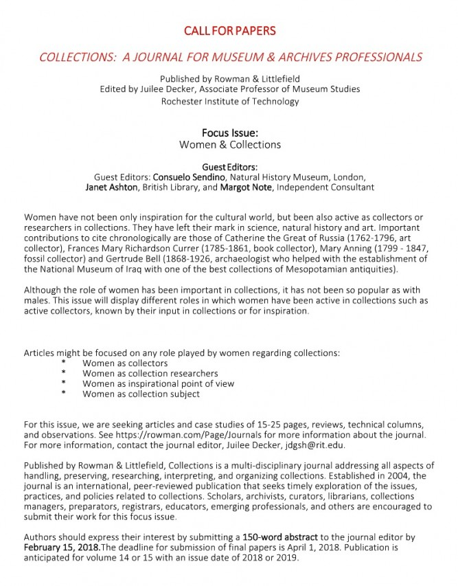 CALL FOR PAPERS - COLLECTIONS: A JOURNAL FOR MUSEUM & ARCHIVES PROFESSIONALS